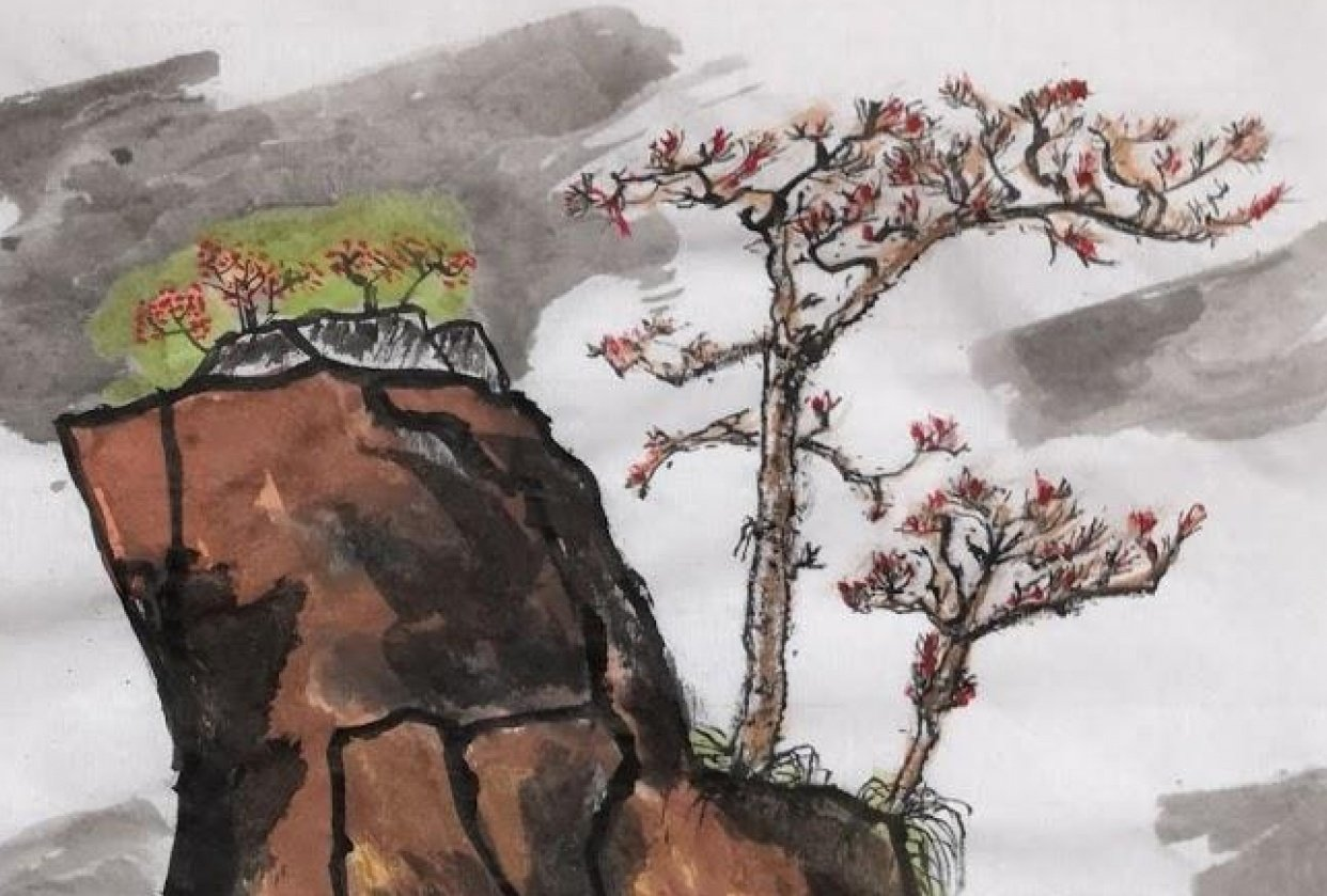 Chinese mountains painting - student project