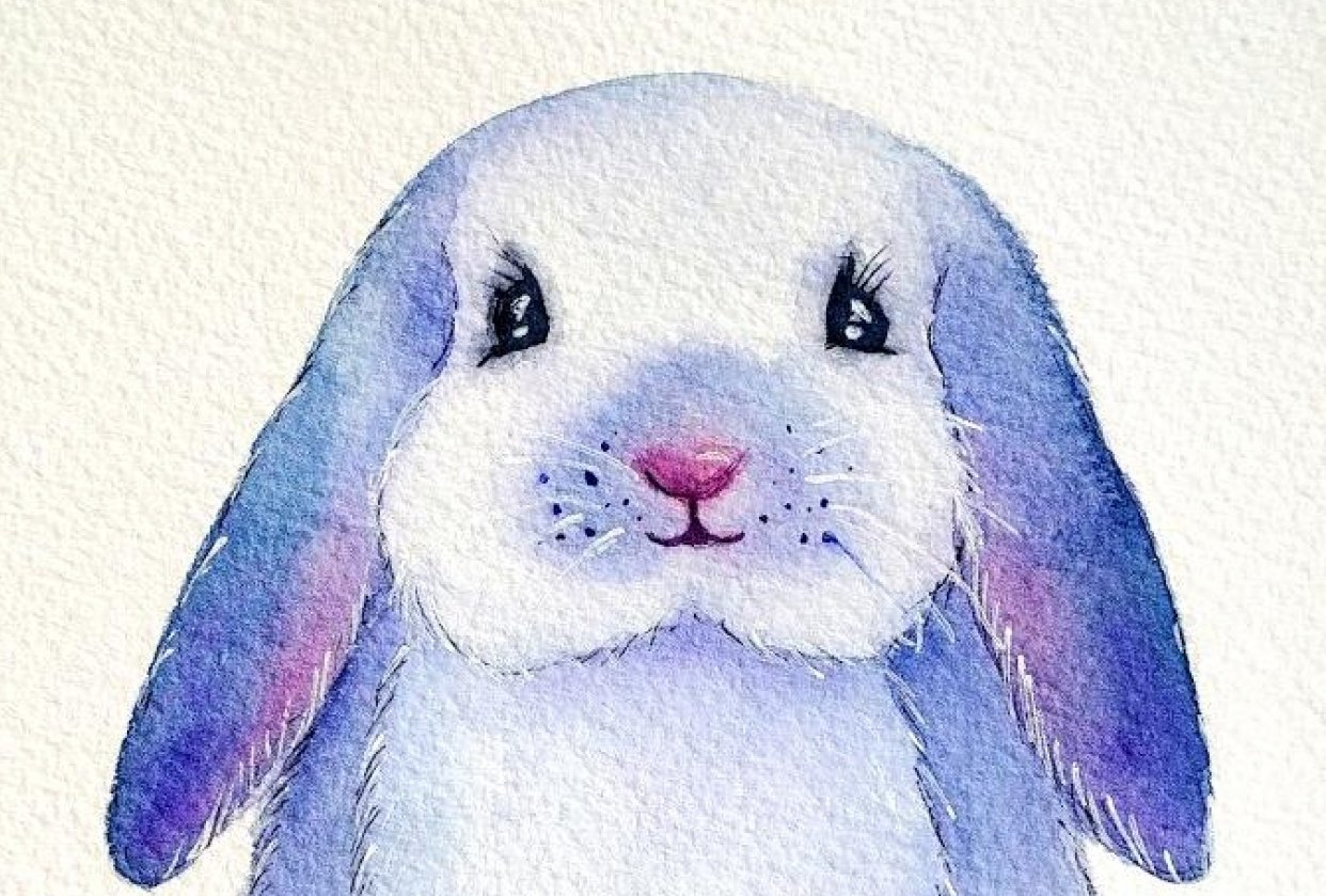 Ink and watercolor bunny - student project