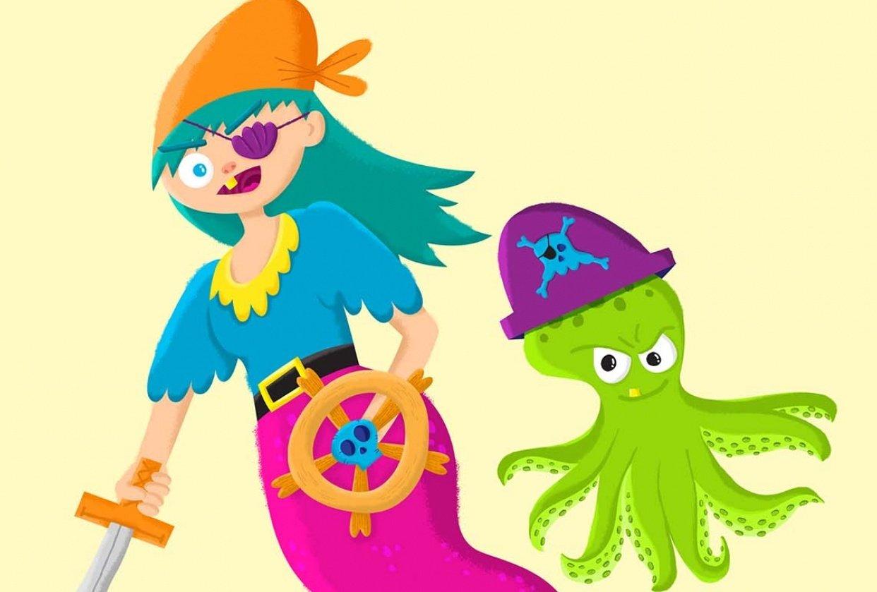 Pirate Mermaid and Octopus Sidekick - student project