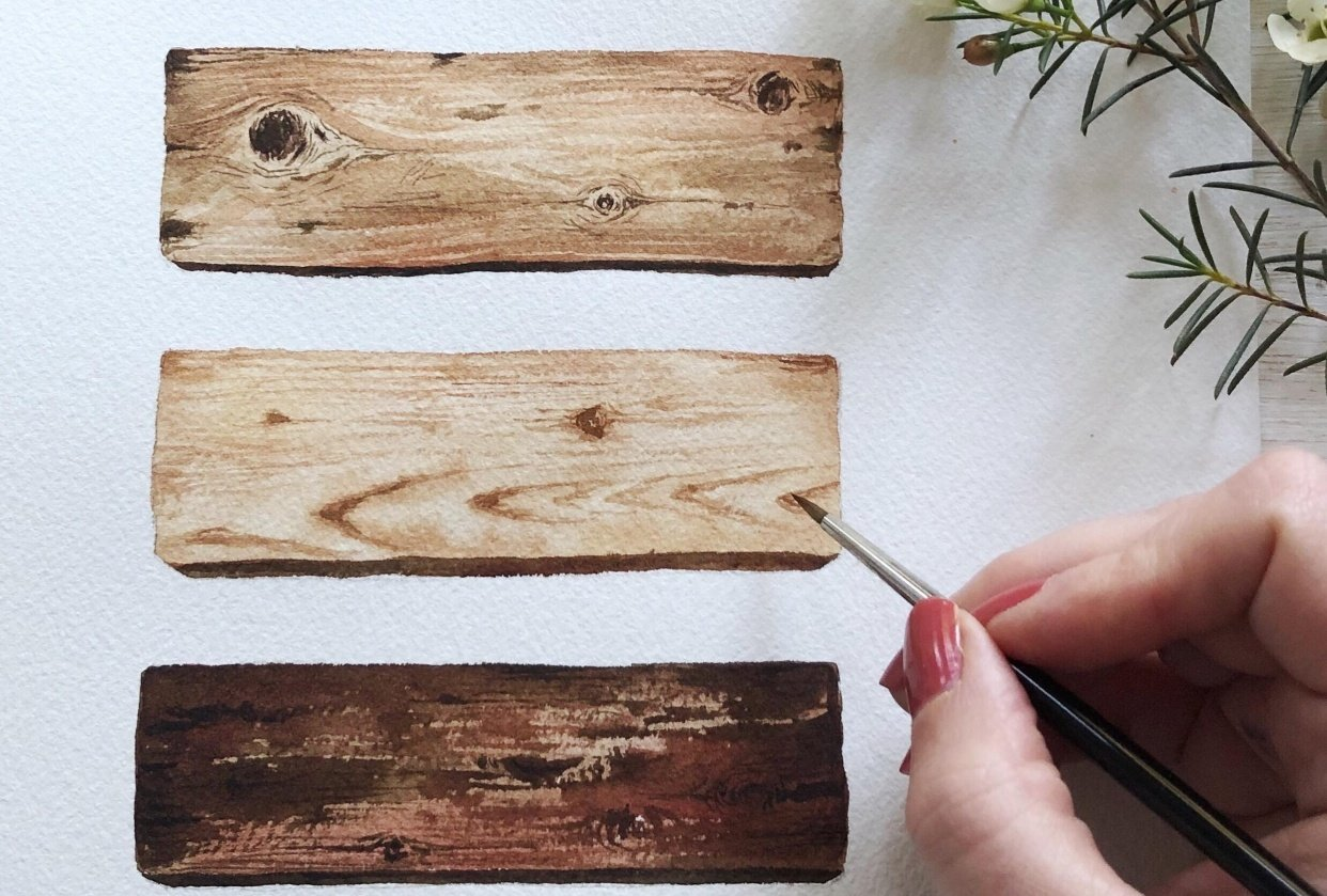Painting Wood in Watercolour - student project