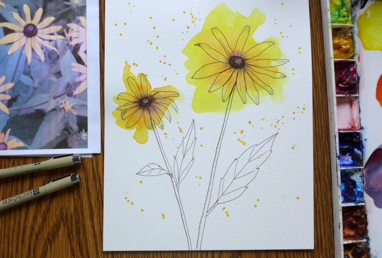 Loose Watercolor and ink Flowers - student project