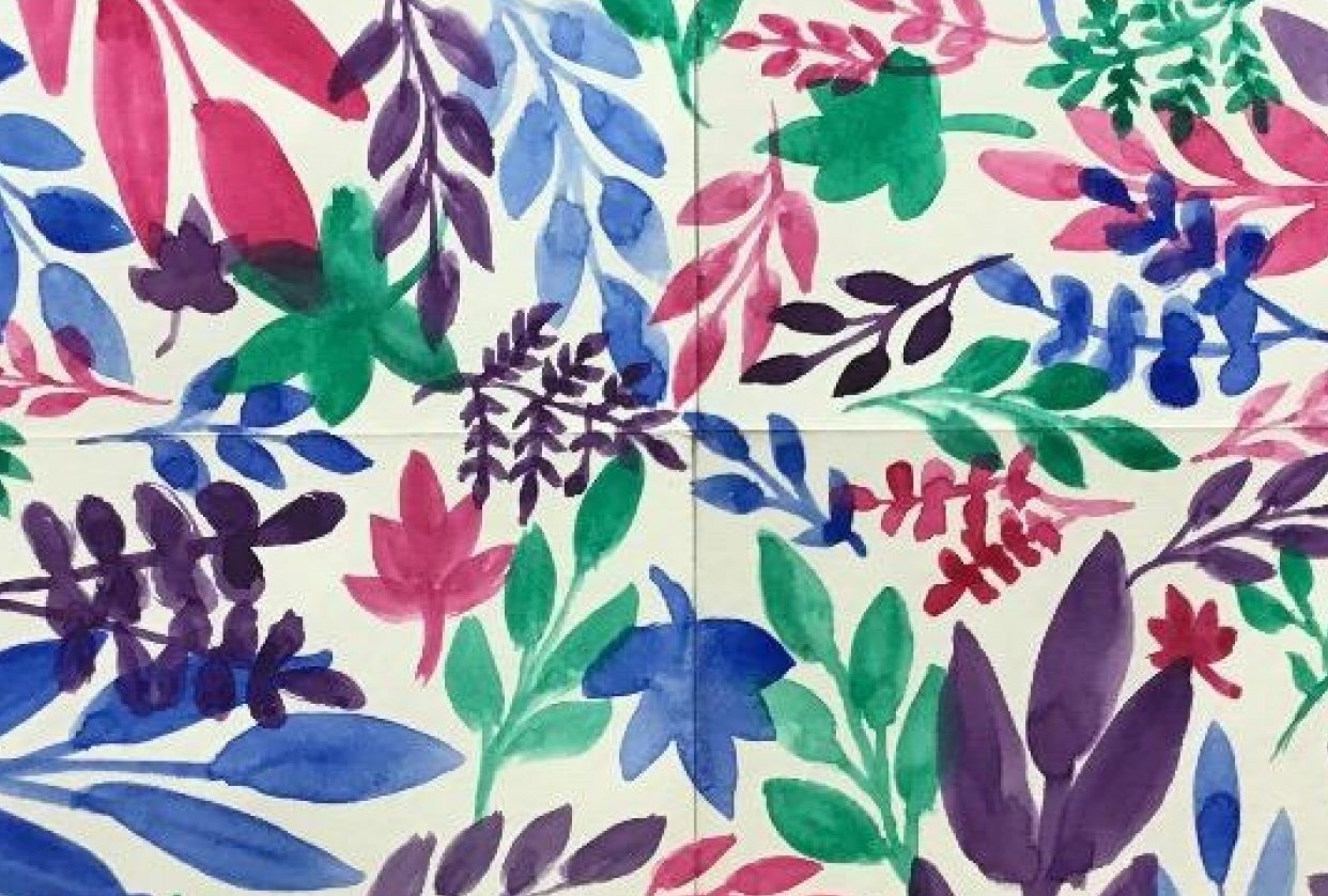 Watercolor Leaves Pattern - student project