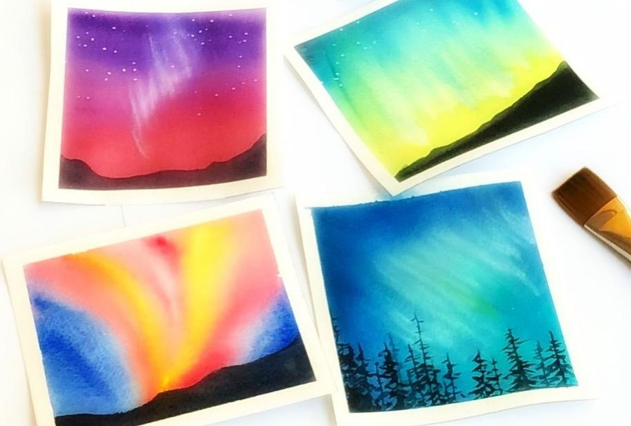 Northern lights in watercolor - student project