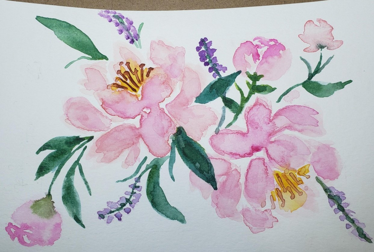 Peonies with Joly Poa - student project