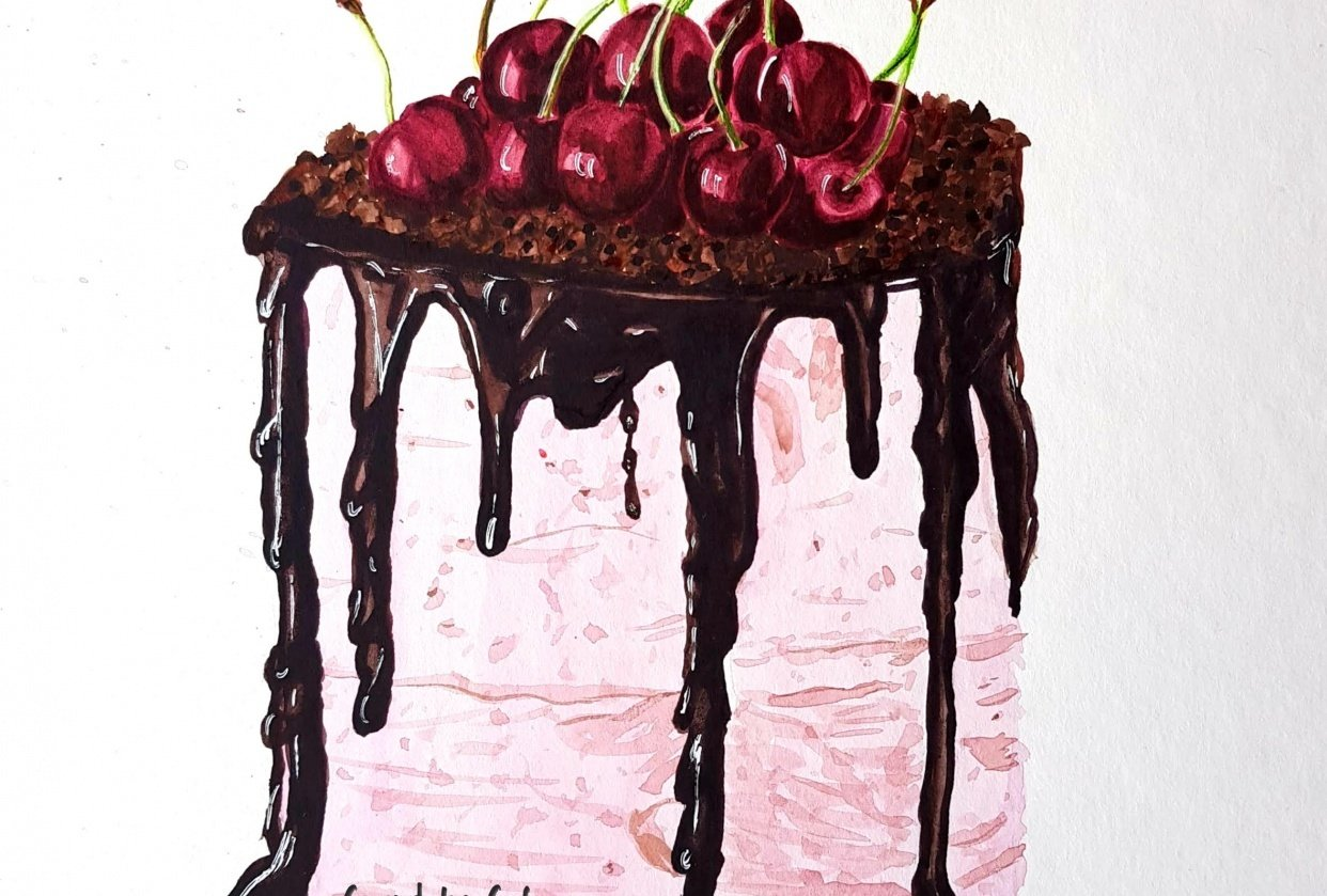 Chocolate glaze cherry cake - student project