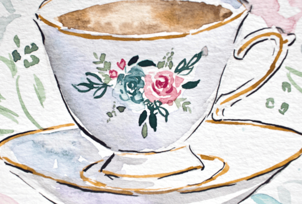 Teacup & Flowers in the Mason Jar - student project