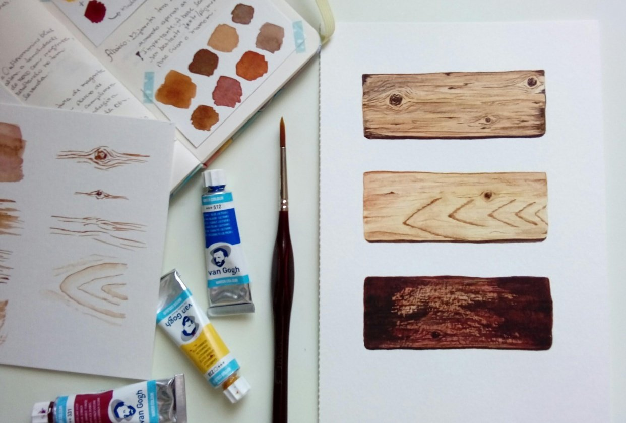 Wood texture in watercolor - student project