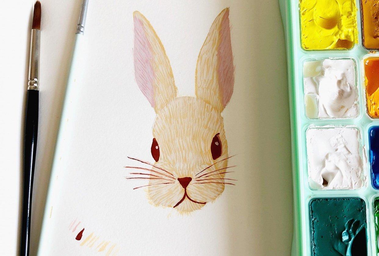 Gouache Rabbit - student project