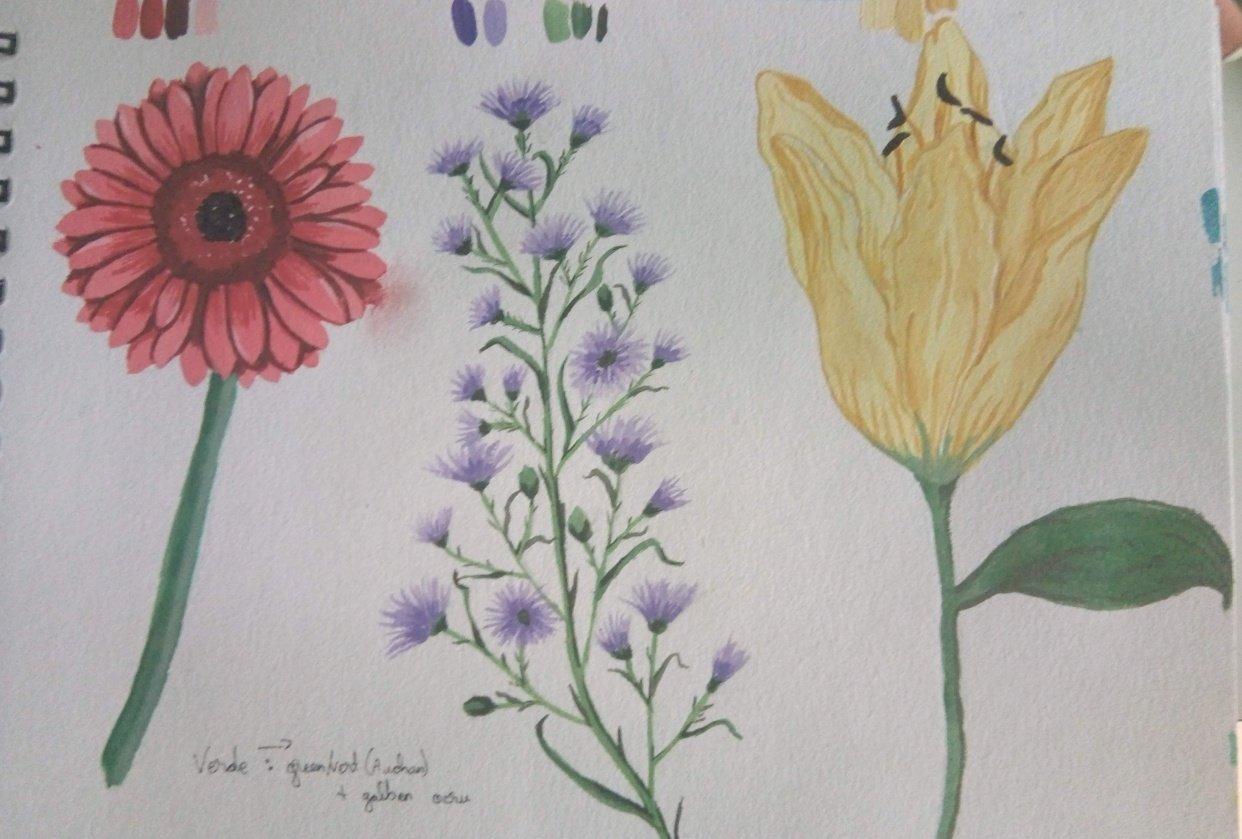 My gouache florals - student project