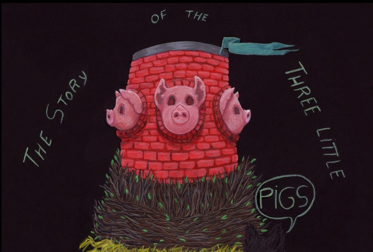 3 little pigs by a french illustrator - student project