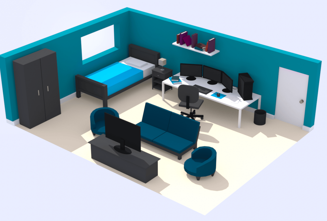 Maya Low Poly Room - student project
