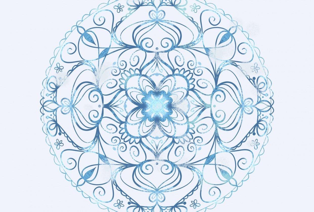 Blue shimmer mandala - student project