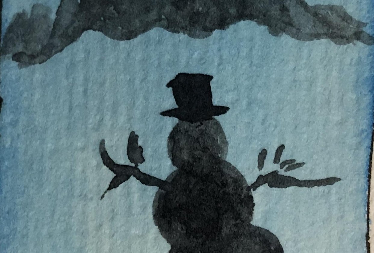 Snowman in the shadow of the hills - student project