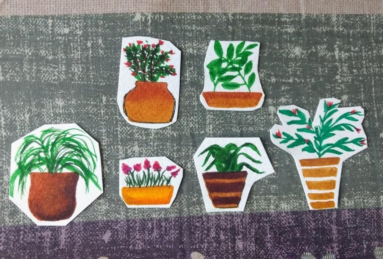 plant pots using waterbrush pens - student project