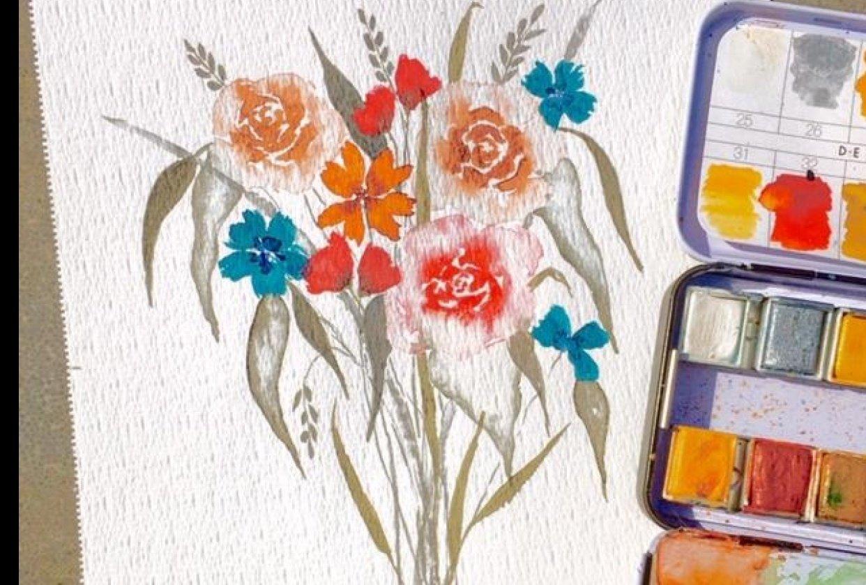 Floral bouquet class by Pizzlepaints - student project