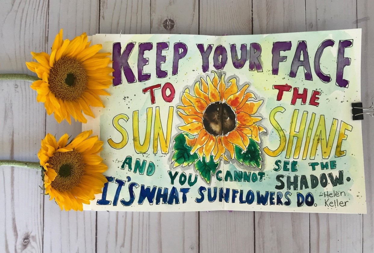 Sunflower Art Journal Page - student project