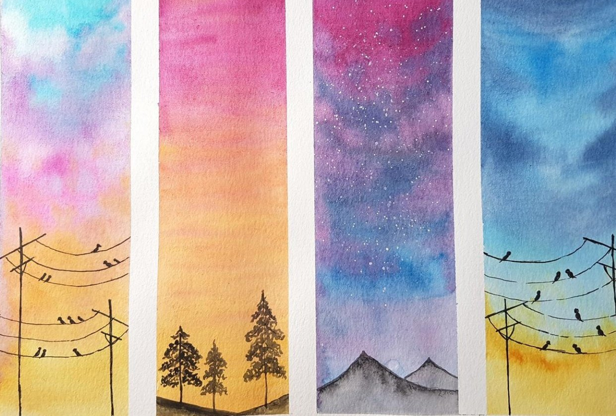 Watercolour Skies by Viddhi - student project