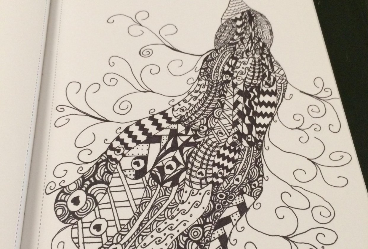 Zentangle Peacock - student project