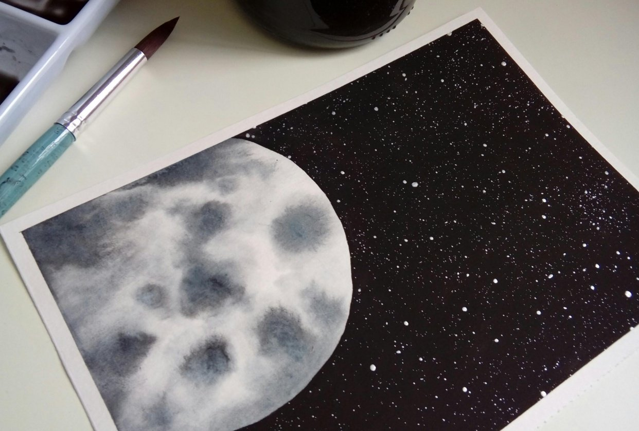 Watercolor Moons - student project