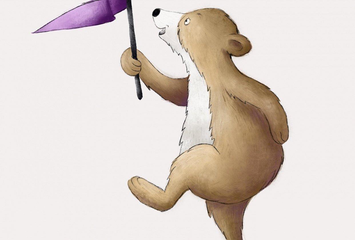 Bear Illustration in Procreate - student project