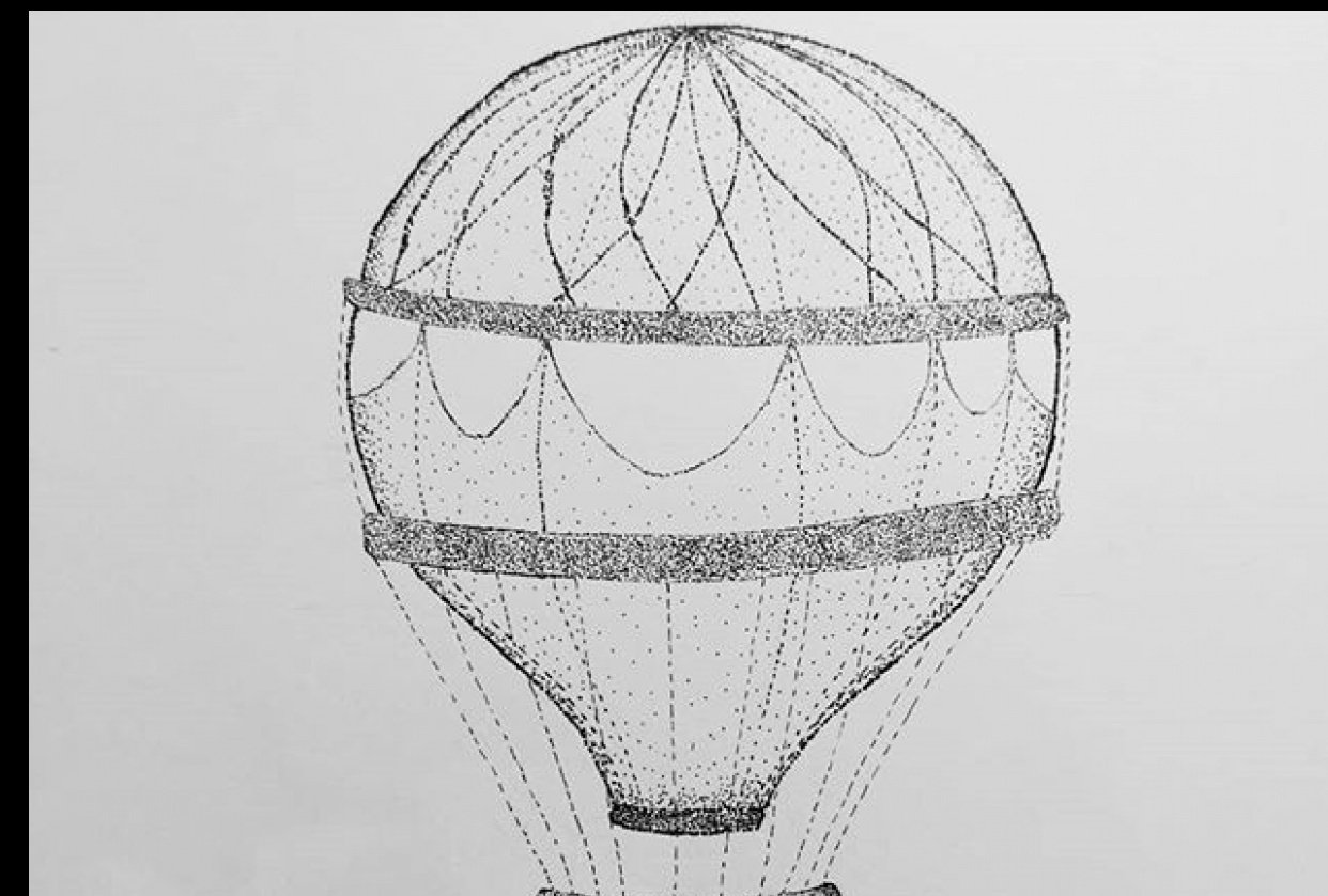 stippled hot air balloon - student project