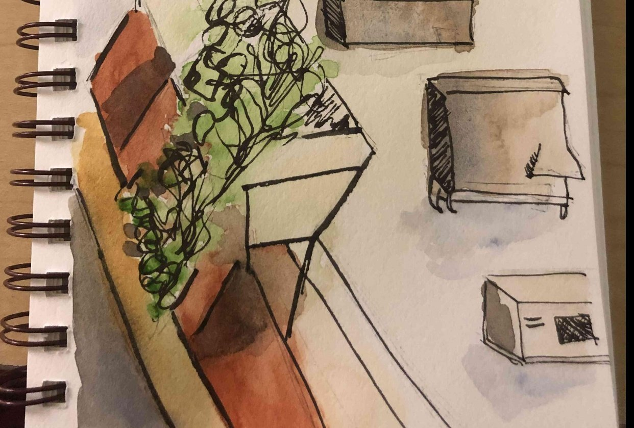 Urban Sketching from Hotel Room - student project