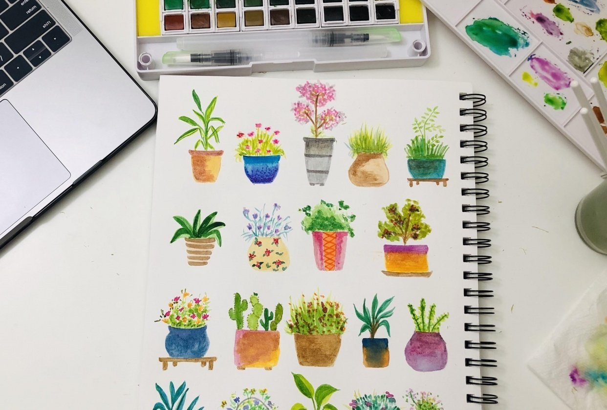 Watercolor planted pots - student project