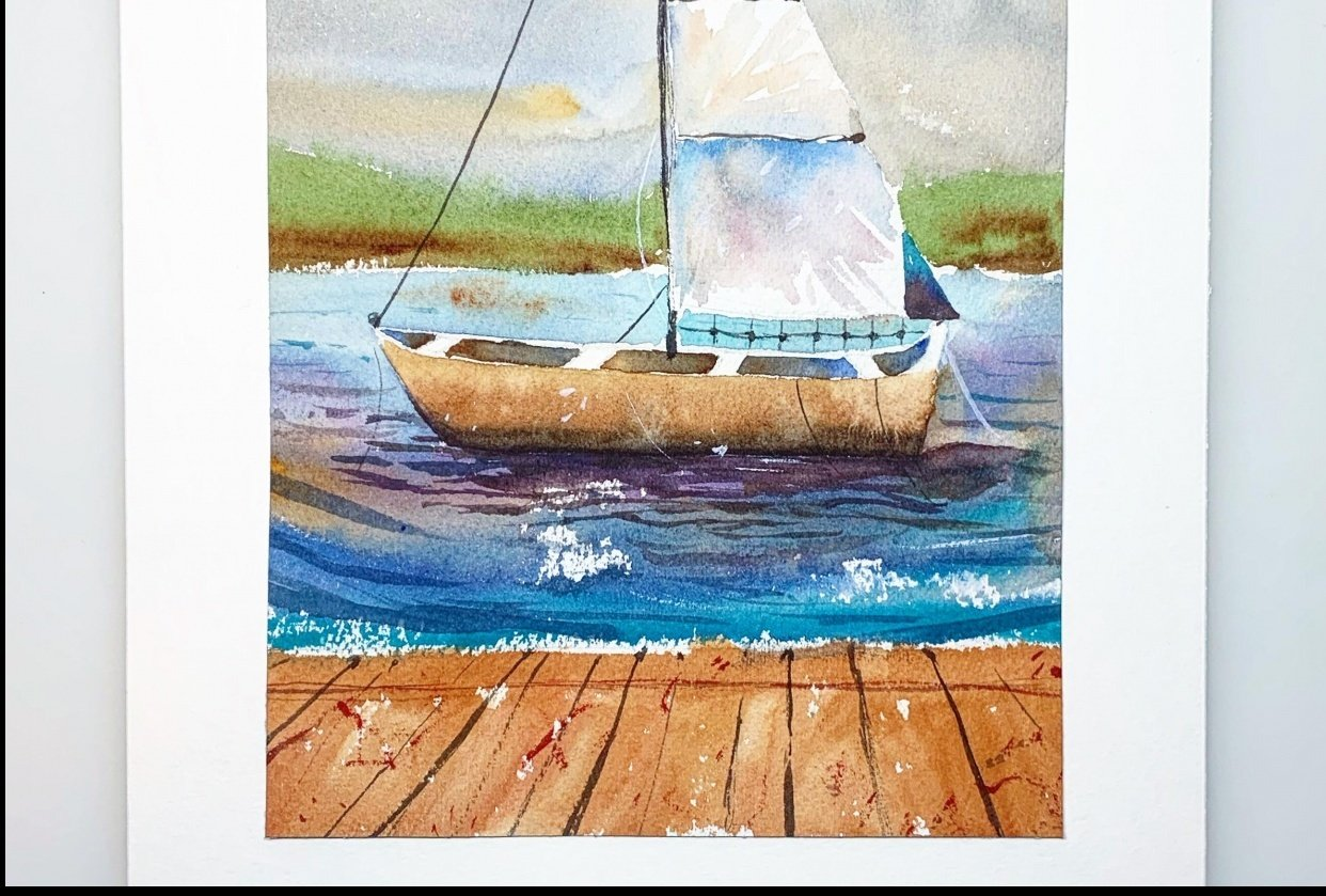 Introduction to Watercolor Seascapes : Learn Negative Painting & Perspective - student project