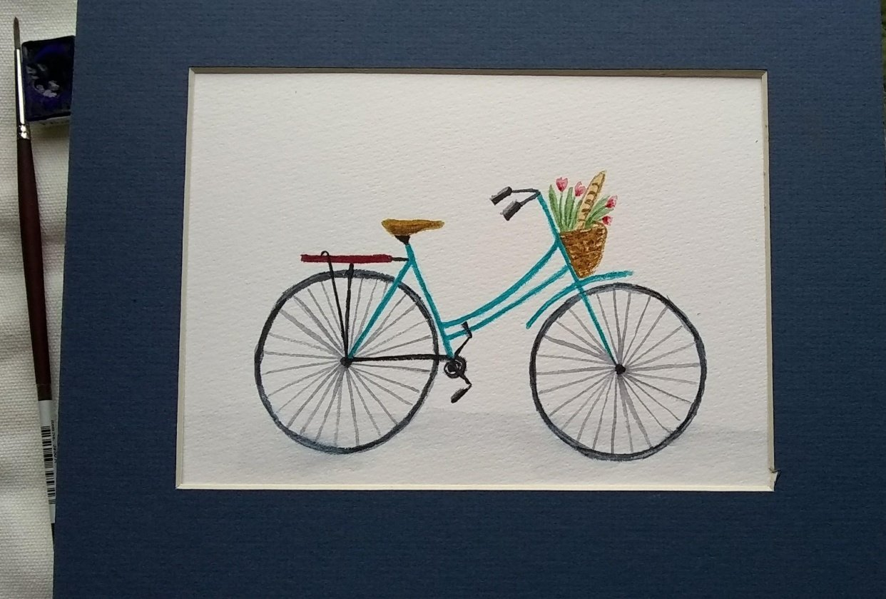 Watercolor bicycle - student project