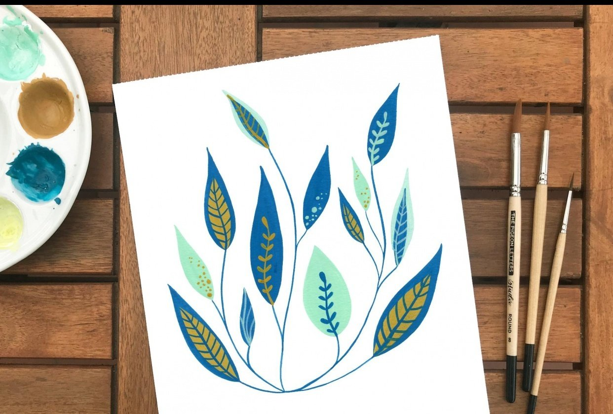 My colorful leaves with gouache - student project