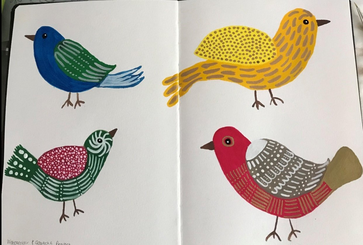 Folk birds in watercolour and gouache - student project
