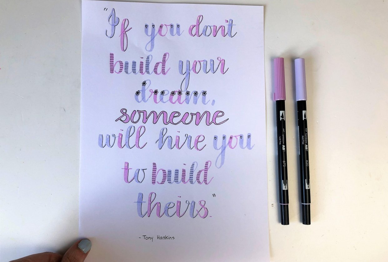 Brush Lettering: Quote - student project