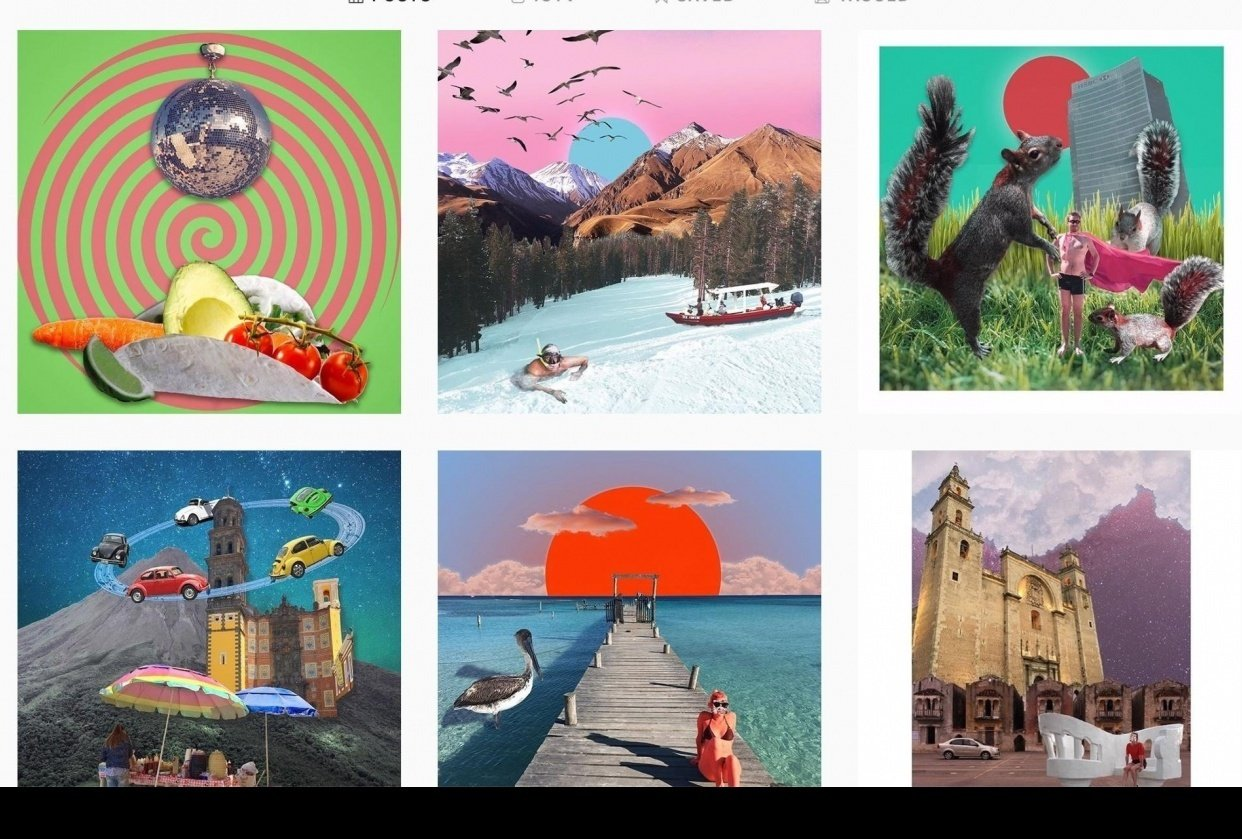 Travel Digital Collages (Instagram project) - student project
