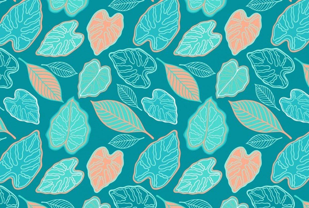 Aqua Tropical Leaf Pattern - student project