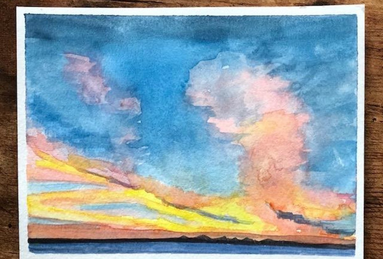 Painting Watercolor Sky and Clouds - student project