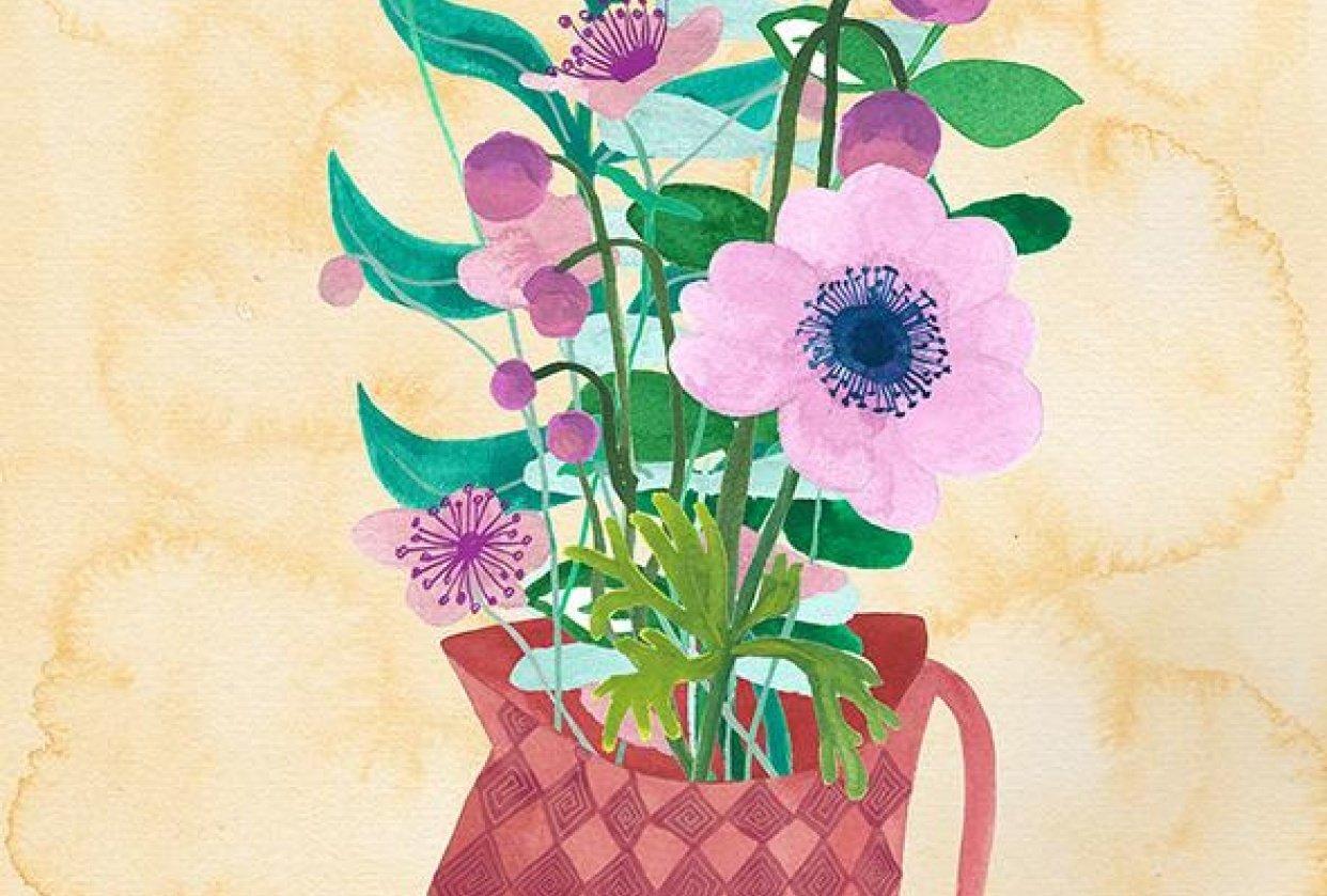 Vase with Floral Arrangement - student project