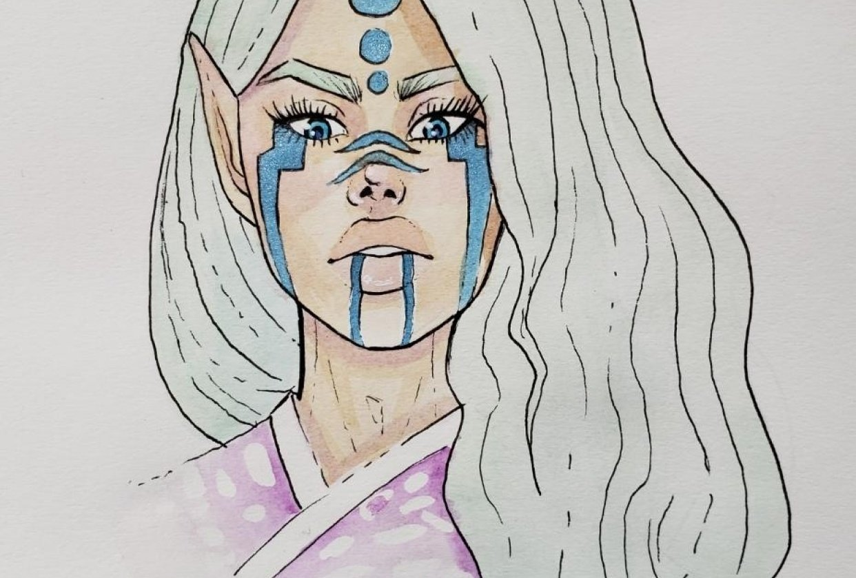 Ren - Watercolor and Ink - student project