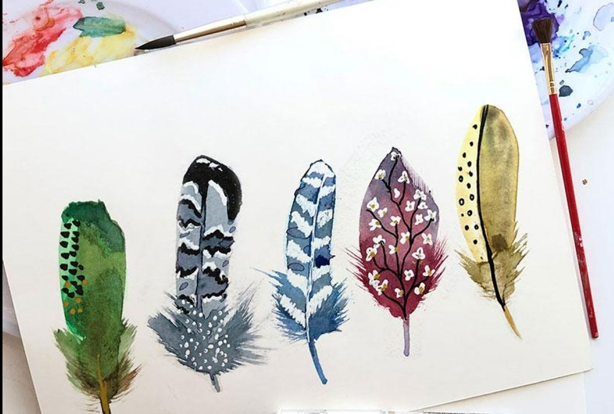 Decorative Watercolor Feathers - student project