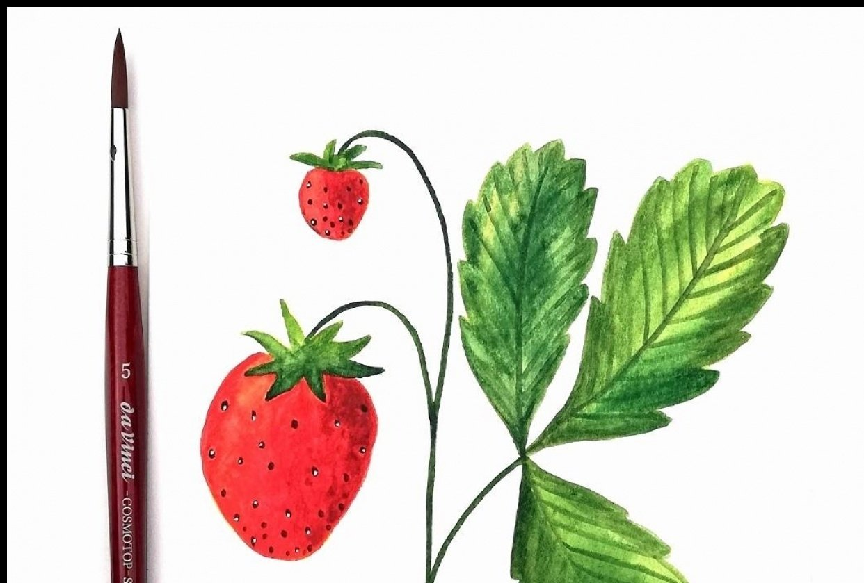 fun strawberry painting - student project