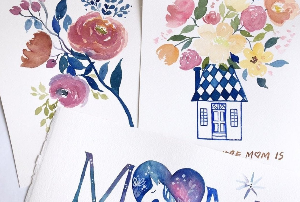 Mother's Day Cards in Watercolour - student project