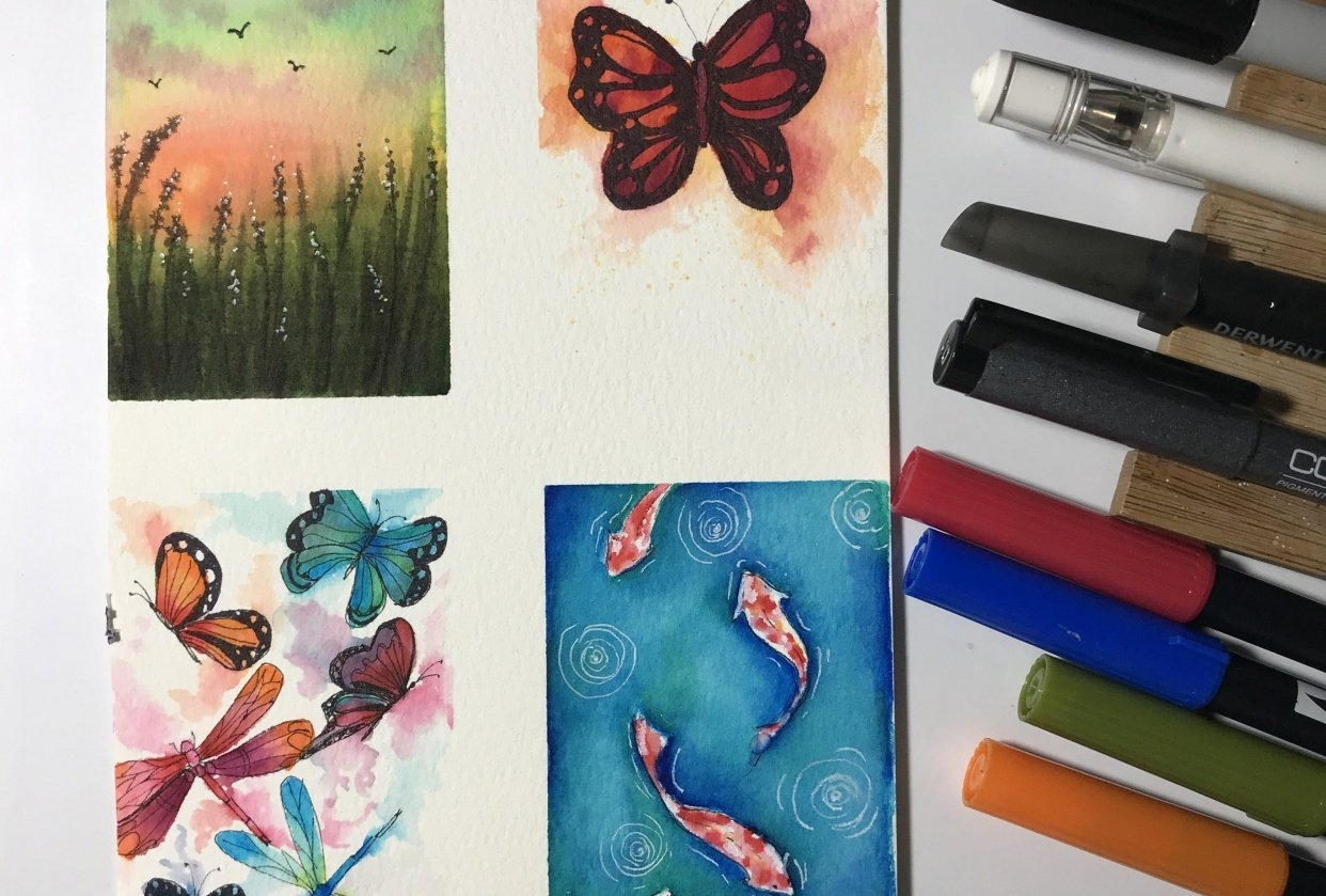 Waterbased markers painting - student project