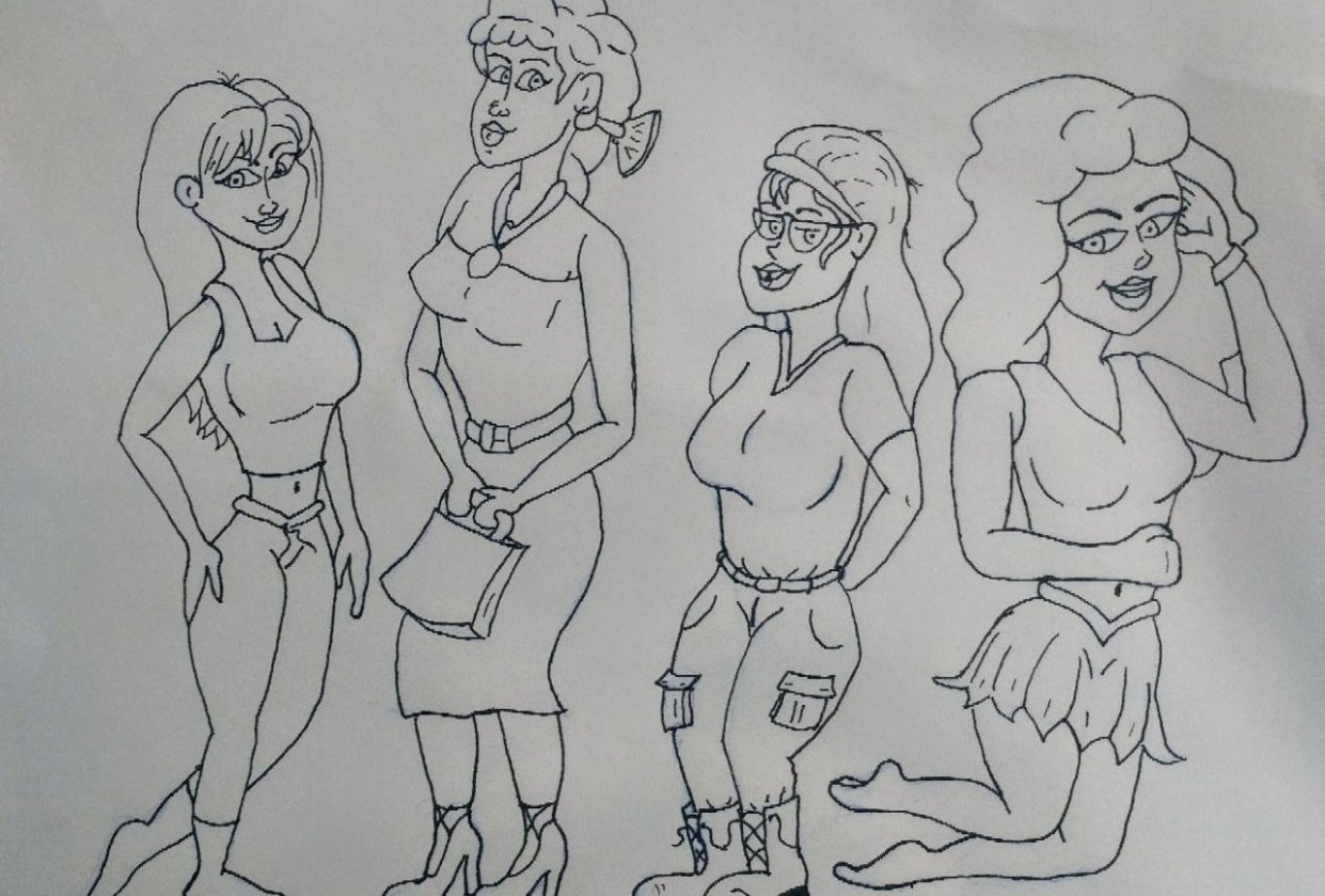 Character design, attractive female characters - student project