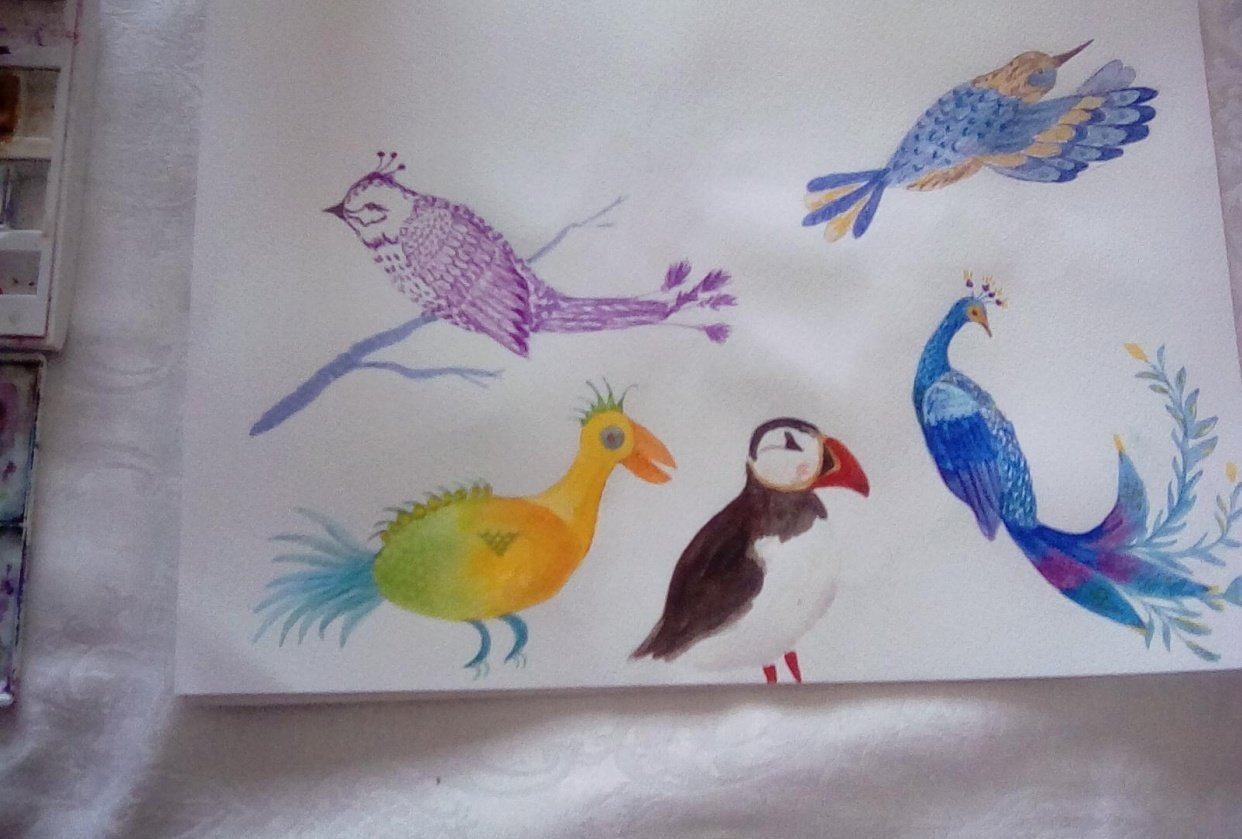 Whimsical birds - student project
