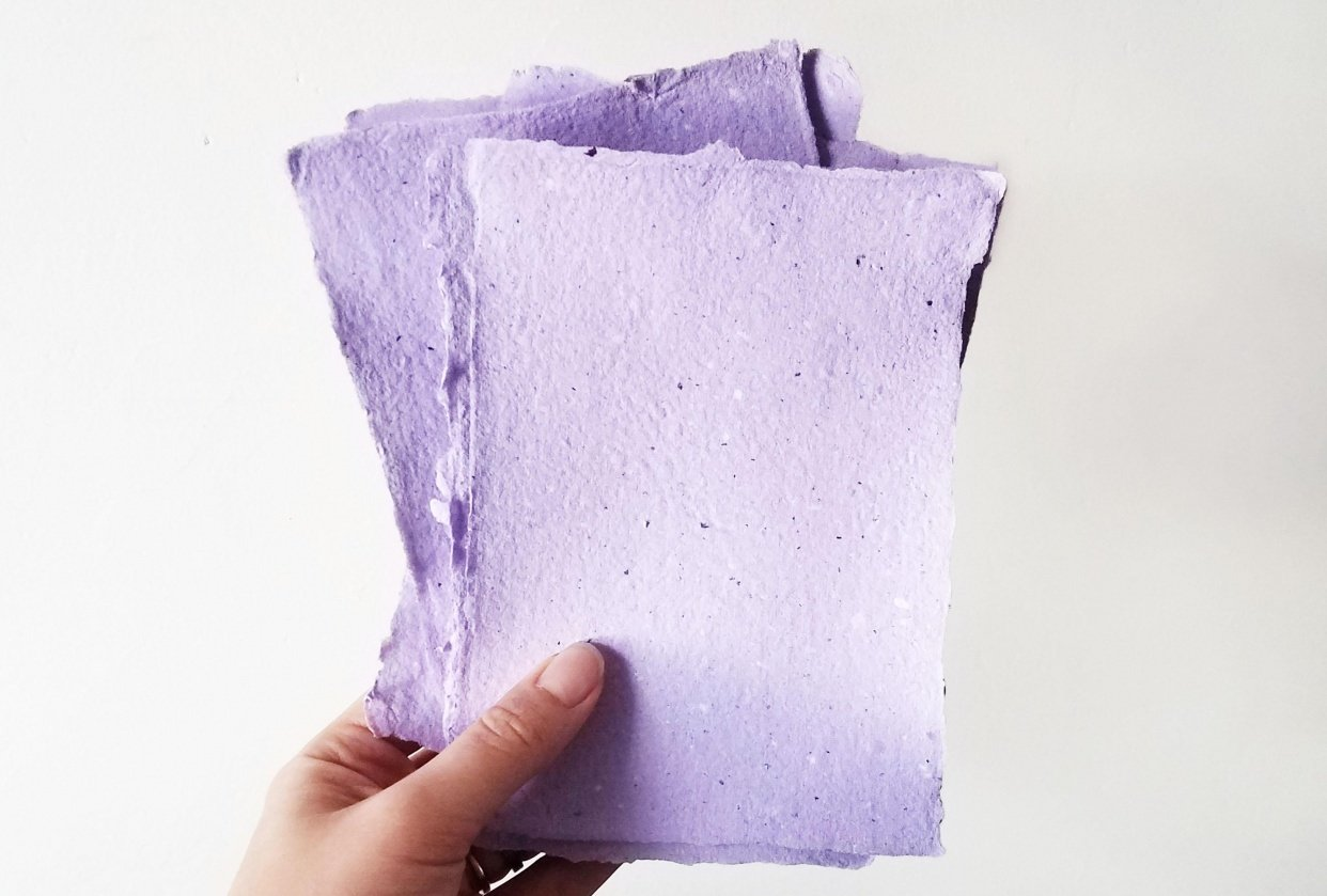 Lavender Handmade Paper - student project
