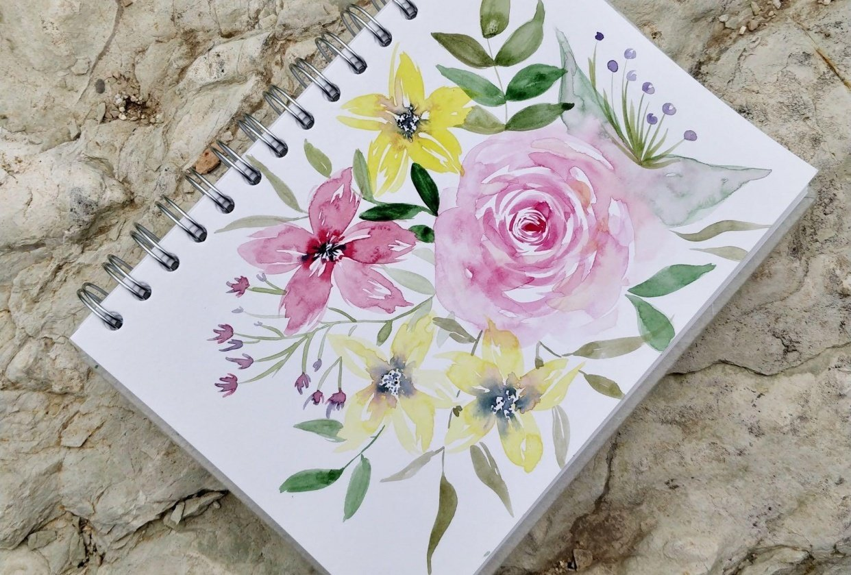 From Blobs to Blooms: Easy Watercolor Florals for Beginners - student project