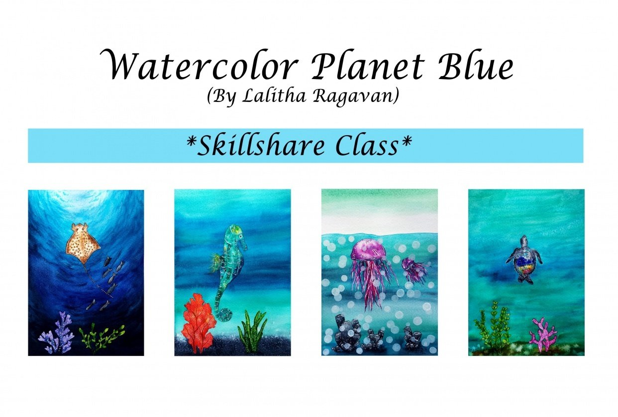 Watercolor Planet Blue - student project
