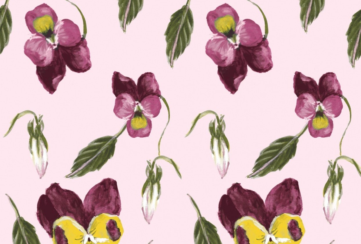 Pansy Repeating Pattern - student project