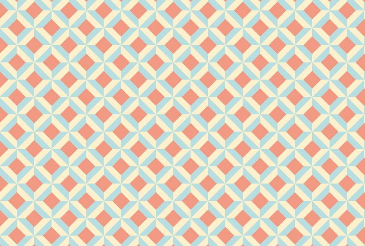 Shape in Shape Pattern in Coral, Aqua, and Cream - student project