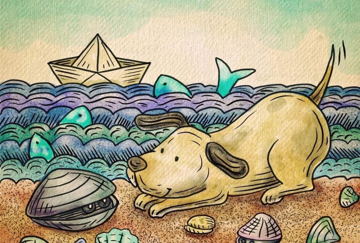 Dog:Will you play with me? Clam: ok, but please be gentle. - student project