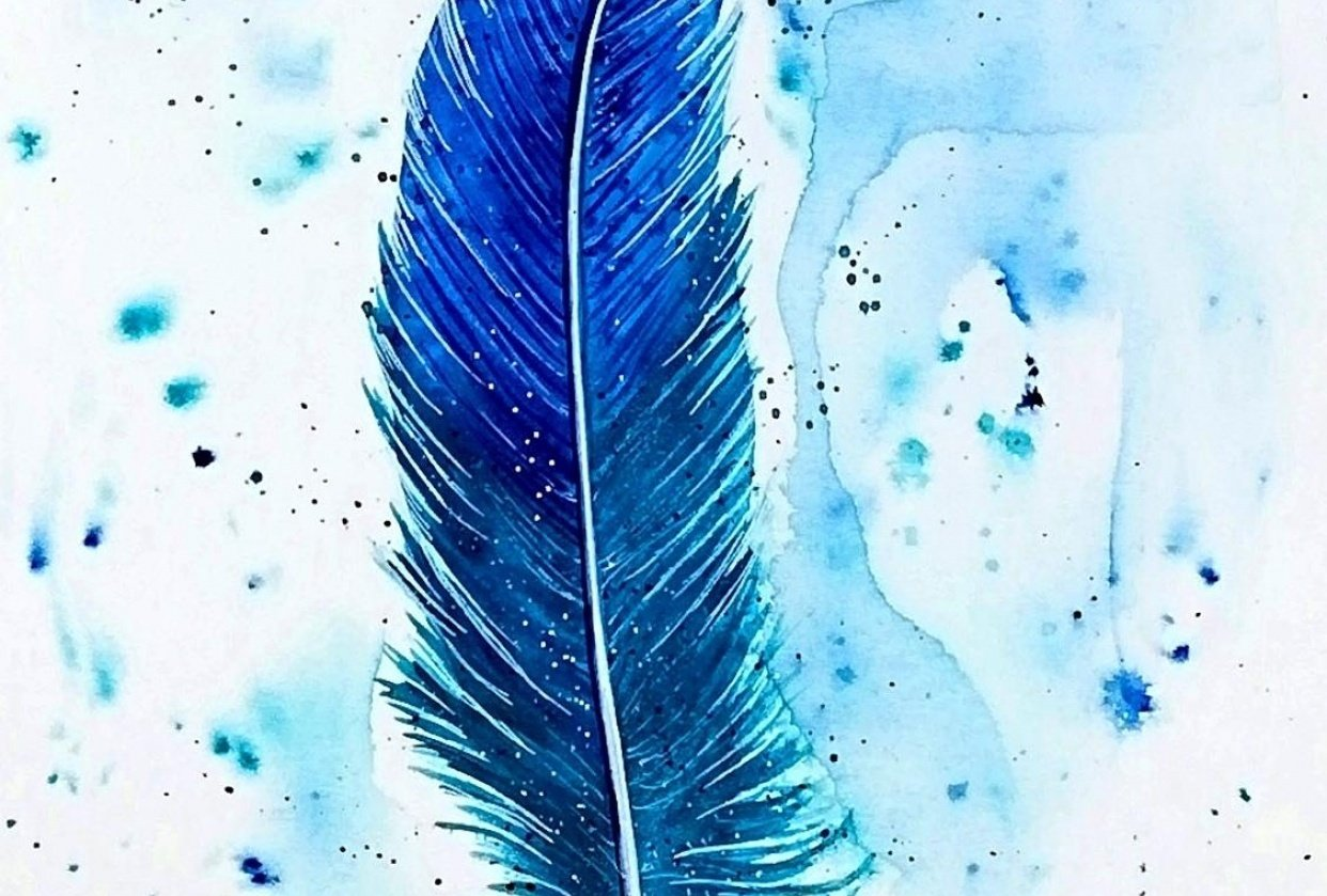 feather painting - student project